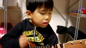 A Cute child playing I'm Yours on Ukulele
